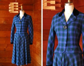 20% off weekend sale / vintage 1940s suit / 40s blue and green plaid wool suit / size xs