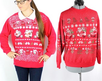 Couples Christmas Sweater MATCHING Set of Red Vintage Santa Tacky Ugly Christmas Sweatshirt Size Smalls
