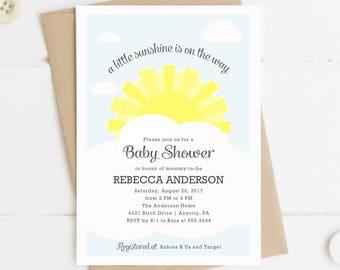 Printable Baby Shower Invitation, Sunshine On the Way