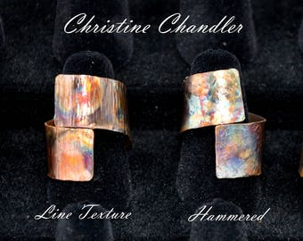 Flame Painted Adjustable Copper RIng - Wrap Ring - Wide Copper Wrap RIng - Christine Chandler - Textured or Smooth finish - Adjustable Rings