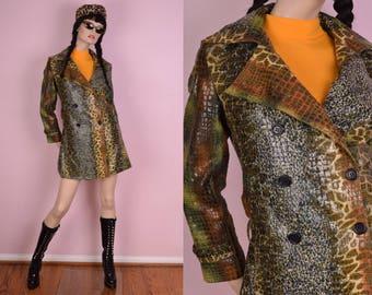 90s Glossy Animal Print Coat/ Small/ 1990s/ Jacket/ Trench