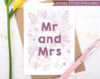 Mr and Mrs wedding card - Mr and Mr card - Mrs and Mrs card - Engagement card - Wedding card - Civil partnership card - Happy couple card