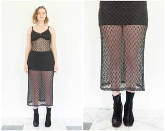 90s Black Crochet Knit Spaghetti Strap Dress