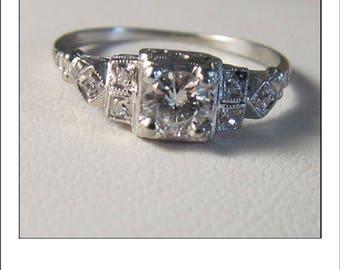 Antique Art Deco Platinum .40 Ct. Diamond Tiered Engagement Ring