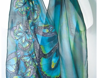 """Hand painted silk scarf. Butterfly silk scarf. 14""""x70"""" chiffon. Monarch Butterfly scarf. Painted silk scarves. Silk scarf hand painted."""