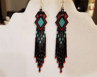Native American Style Beaded Earrings Red, Turquoise, Black and Silver Southwestern, Boho, Brick Stitch, Peyote, Gypsy, Geometric Great Gift