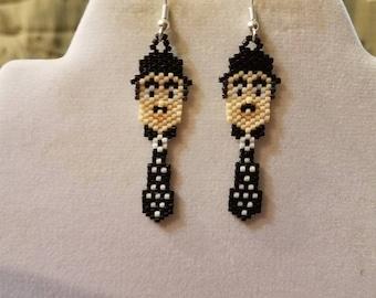 Charlie Chaplin Beaded Handmade Earrings Brick Stitch, Peyote, Comic Actor, Vintage Looking Great Gift