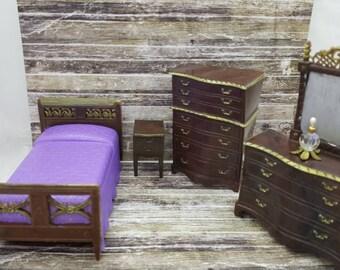 Renwal Bedroom Vanity Dresser Purple  Spread Bed  Night stand Highboy Dresser Doll House Toy  miniature Bedroom hard plastic