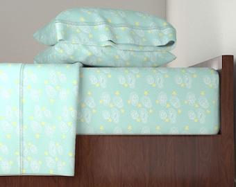 Bedding Sheet Set, Aqua Cloud Doodle Design, Includes Fitted Sheet, Flat Sheet, and Pillowcase, Twin, Queen, King Sheet Set