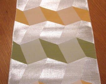 Vintage Mod Japanese Hassun Obi Sash For Kimono - Silver / Green / Orange.