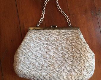 Vintage raffia evening bag with kiss lock