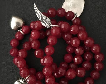 Valentines Heart charm bracelet ruby red jade