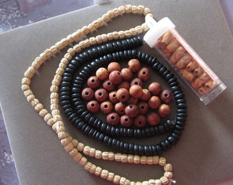 Lot of Assorted Wood Beads Destash