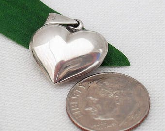 Tiny Sterling Silver Puffy Heart Pendant - Marked  925