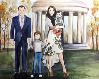 "11""x14"" Custom Portrait Illustration - With Home or Favorite Place - Watercolor Painting"