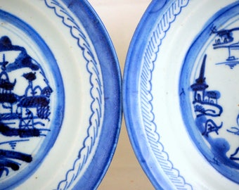 2 Antique Delft Side Plates, Pair 18/19thC English/Dutch Blue Delft Pagoda Handpainted Chinoiserie Tea Plates