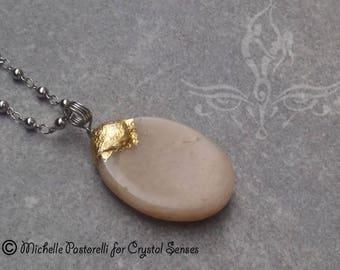 Peach Moonstone Worry Stone Pendant (WSPPM0006)
