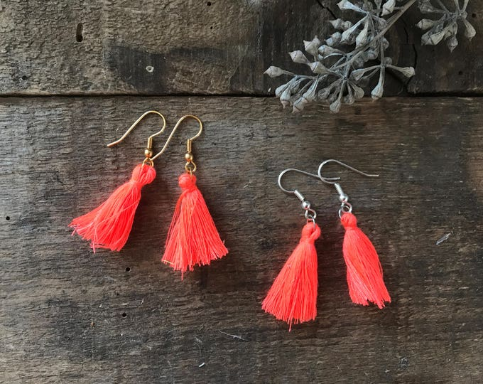 boho tassel earrings, neon orange highlighter earrings, cotton jewelry, unique bohemian gifts for mom, gifts for girlfriends, fall jewelry