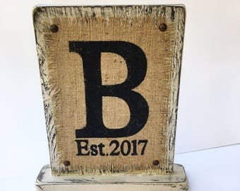 Burlap sign MONOGRAM Self Standing Custom ALL letters available