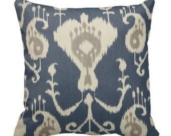 decorative couch pillow, ikat pillow covers, ikat accent pillows, blue grey pillows, ikat throw pillows, ikat chair pillow, lumbar, 16x16