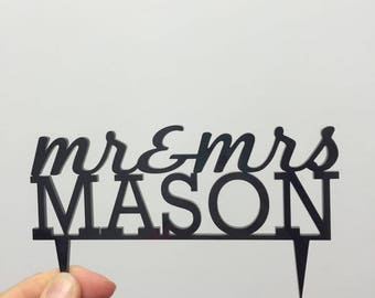S A L E 'Mr & Mrs Mason' Wedding Cake Topper