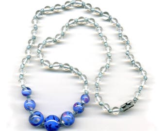 "Vintage Bead Necklace Blue Lampwork Focals Pretty & Delicate 17"" Long"