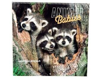 Vintage 1990 2018 Hoyle Animal Babies Calendar