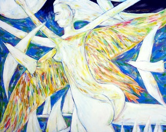 Original oil on canvas blue white square large painting girl swan flying IT WAS a DREAM home decoration modern artwork