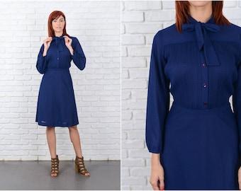 Vintage 80s Navy Blue Secretary Dress Striped A Line Medium M 9609