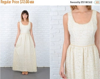 ON SALE Vintage 70s Cream Hippie Dress Boho Striped wedding Crochet Cutout Maxi Small S 8848