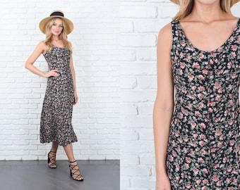 Vintage 90s Dress Floral Print Midi XS Black Pink Leaf Sleeveless Grunge 11164
