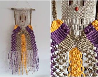 Long Macrame Wall Hanging, Boho Woven Wall Hanging, Off White Purple Yellow, Jungalow Decor, Fiber Wall Art Shabby Decor, Branch Weave Art
