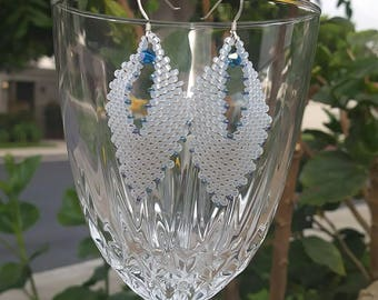 Russian Leaves, earrings, white