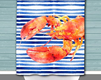 Lobster Shower Curtain: Watercolor Stripes Beach House Inspired | 12 Eyelet/Button Hole | Size and Pricing via Dropdown