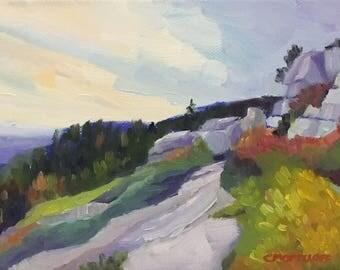 Maine Coastal Landscape Original Small Oil Painting on Canvas