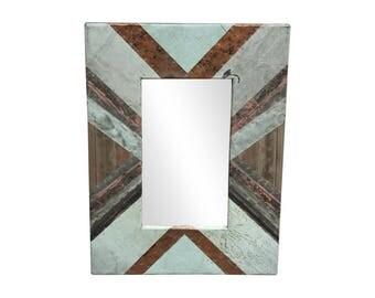 22 in. x 34 in. Diagonal Copper Cornice Patchwork 4.5 in. Mirror