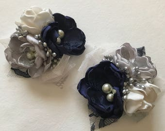 Navy, Cream and Silver Pin Corsage - Fabric Flower Corsage, Fabric Wedding Flowers, Fabric Flowers, Handmade Flowers, Navy and Grey Wedding
