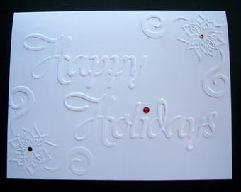 Set of 10 Embossed Happy Holidays Cards
