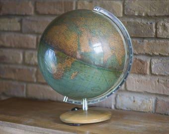 Vintage illuminated globe Columbus Erdglobus. Cold War time Physical Political globe Duplex German. Homer Decor retro globe pale blue green