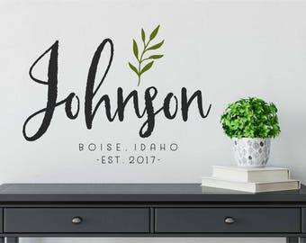 Farmhouse Family Name Decals for Walls  // Personalized Family Name Sign // Name Wall Decal // Established Date / /Last Name Decal //