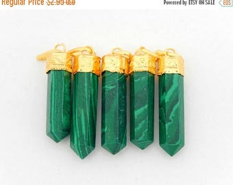 10% off Labor Day Malachite Pendant with Gold Plated Bail-- Pencil Point Pendant  (S34B16b-01)