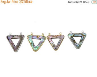10% off Labor Day Thin Abalone Triangle Double Bail Pendant with Electroplated 24k Gold or Silver Edge and Bail (S96B16)