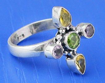 Sterling silver Multi gemstone. Peridot, Citrine,amethyst Cross Ring Size 8