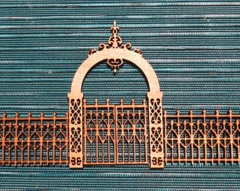 Victorian Style Fence and Gate- gaming miniature-laser cut wood