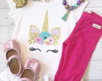 Unicorn Face - Themed Ruffle Tee - Birthday Shirt - T shirt - Party - Unicorn themed items - Rainbow shirt