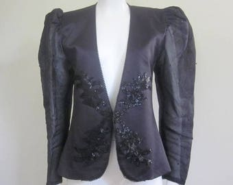 Evening Jacket / Sheer Sleeves / 1980s / Dynasty / 80s Does 40s / Beaded Jacket