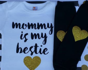 Mommy is my bestie, mommy and me, mommy's BFF, baby girl outfit