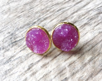 Purple Druzy Earrings,  Resin Druzy Earrings, Gemstone Earrings, Druzy Stud Earrings, Druzy Jewelry