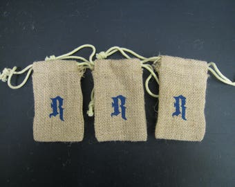 "3 pcs Burlap Bags with letter R stamped on it 3""x5"""