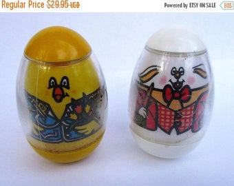 20% Summer SALE Vintage Chicken and Bunny Rabbit Weeble, RARE 1970s Children's Collectible Toy by Hasbro...Spring Easter Themed Weebles